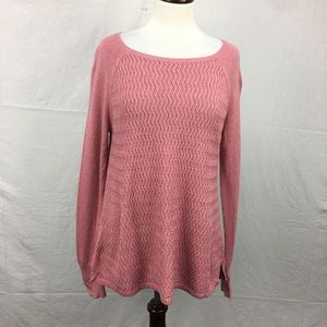 LOFT Pink Knit Crew Neck Sweater